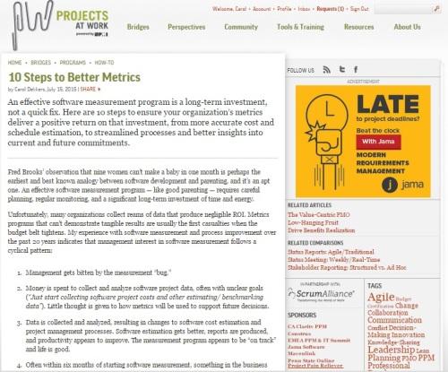 ProjectsAtWork - 10 Steps to Better Metrics July 2015